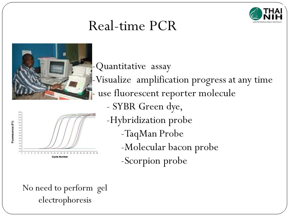 Real-time PCR -Quantitative assay -Visualize amplification progress at any time - use fluorescent reporter molecule - SYBR Green dye, -Hybridization p
