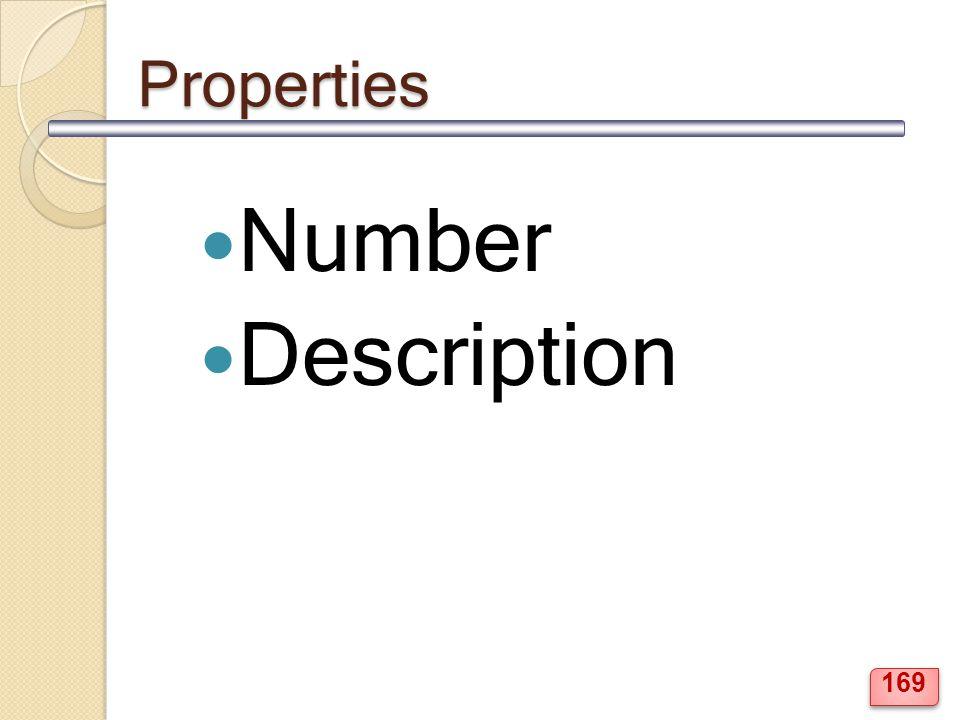 Properties Number Description 169