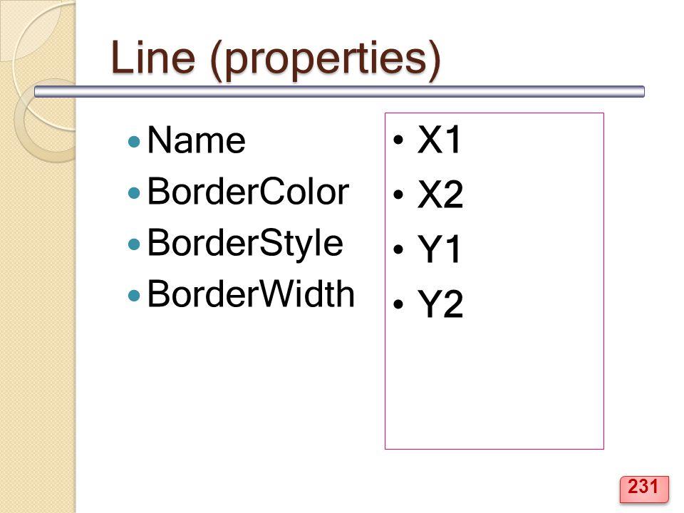 Line (properties) Name BorderColor BorderStyle BorderWidth X1 X2 Y1 Y2 231