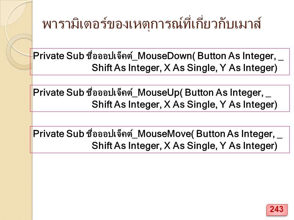 พารามิเตอร์ของเหตุการณ์ที่เกี่ยวกับเมาส์ Private Sub ชื่อออปเจ็คต์_MouseDown( Button As Integer, _ Shift As Integer, X As Single, Y As Integer) Private Sub ชื่อออปเจ็คต์_MouseMove( Button As Integer, _ Shift As Integer, X As Single, Y As Integer) Private Sub ชื่อออปเจ็คต์_MouseUp( Button As Integer, _ Shift As Integer, X As Single, Y As Integer) 243