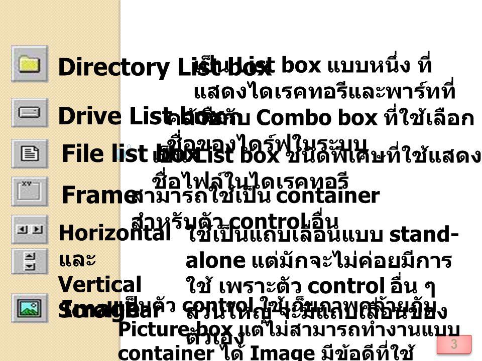 4 Label เป็นตัว control ที่ใช้แสดงข้อความ หรือป้ายชื่อ Line เป็นตัว control ใช้สำหรับการ ตกแต่งด้านกราฟฟิก List box เป็นตัว control ที่เก็บรายการ ของค่า และให้ผู้ใช้เลือก ซึ่ง สามารถเป็นการเลือกค่าเดียว หรือหลายค่า ขึ้นกับการกำหนด คุณสมบัติ MultiSelect OLE container เป็นตัว control ที่สามารถเป็น Host window ให้กับ โปรแกรมภายนอก เช่น Microsoft Excel หรืออาจจะ กล่าวว่าเป็นการสร้าง window ให้กับโปรแกรมอื่นบน โปรแกรมประยุกต์ Visual Basic