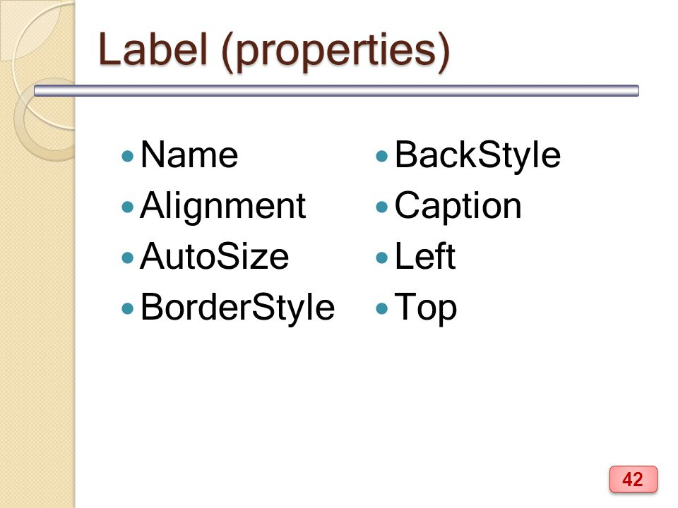 Label (properties) Name Alignment AutoSize BorderStyle BackStyle Caption Left Top 42