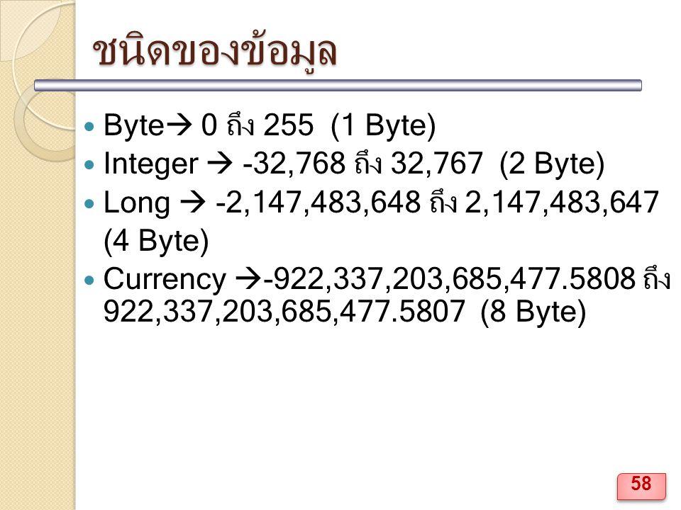 ชนิดของข้อมูล Byte  0 ถึง 255 (1 Byte) Integer  -32,768 ถึง 32,767 (2 Byte) Long  -2,147,483,648 ถึง 2,147,483,647 (4 Byte) Currency  -922,337,203,685,477.5808 ถึง 922,337,203,685,477.5807 (8 Byte) 58