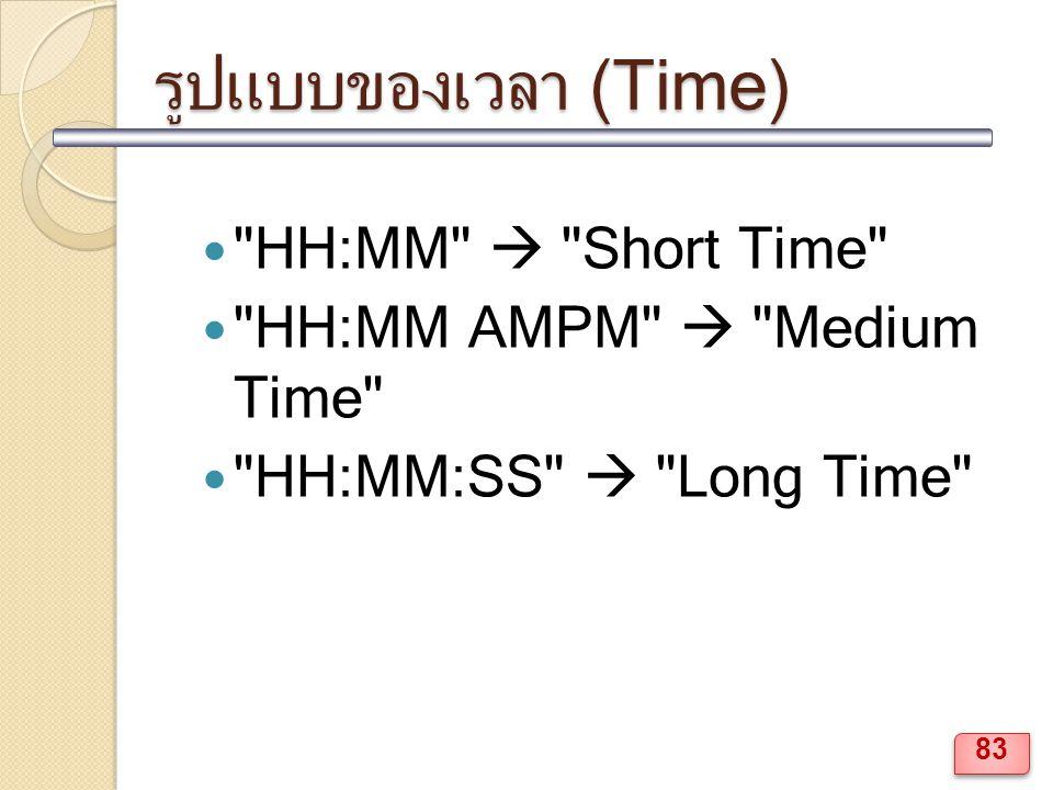 รูปแบบของเวลา (Time) HH:MM  Short Time HH:MM AMPM  Medium Time HH:MM:SS  Long Time 83