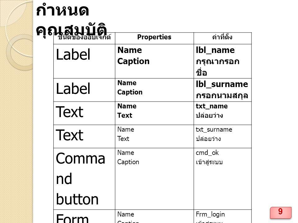 9 กำหนด คุณสมบัติ ชนิดของออบเจ็กต์ Properties ค่าทึ่ตั้ง Label Name Caption lbl_name กรุณากรอก ชื่อ Label Name Caption lbl_surname กรอกนามสกุล Text Name Text txt_name ปล่อยว่าง Text Name Text txt_surname ปล่อยว่าง Comma nd button Name Caption cmd_ok เข้าสู่ระบบ Form Name Caption Frm_login เข้าสู่ระบบ