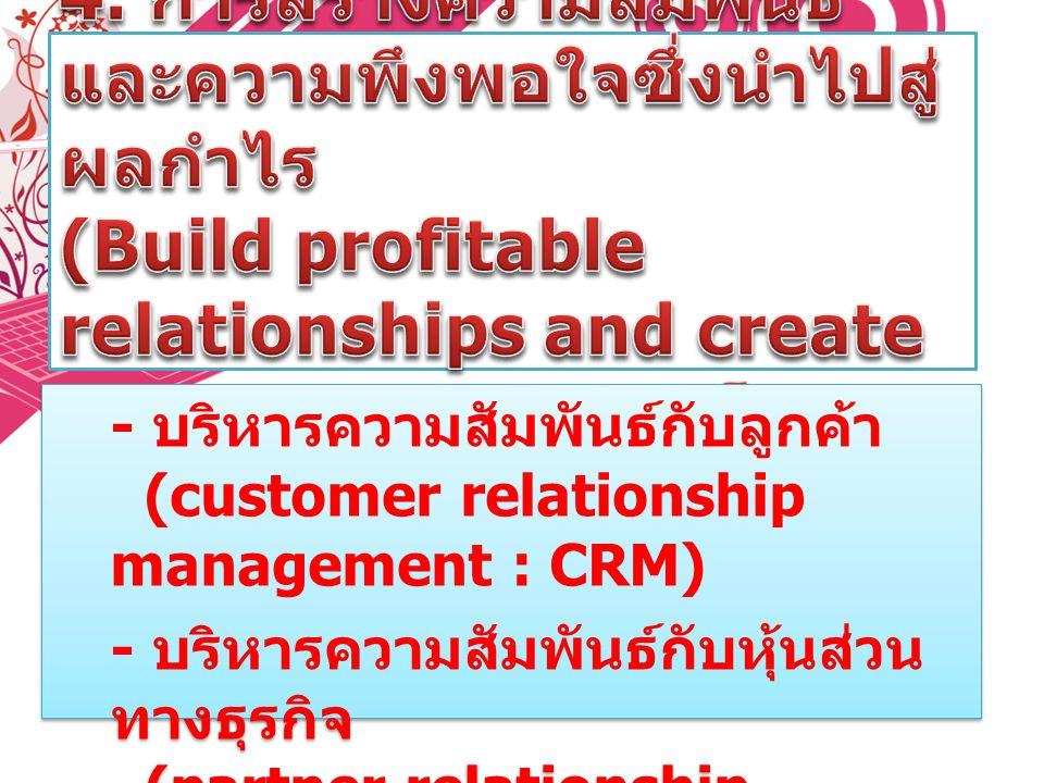 - บริหารความสัมพันธ์กับลูกค้า (customer relationship management : CRM) - บริหารความสัมพันธ์กับหุ้นส่วน ทางธุรกิจ (partner relationship management : PR