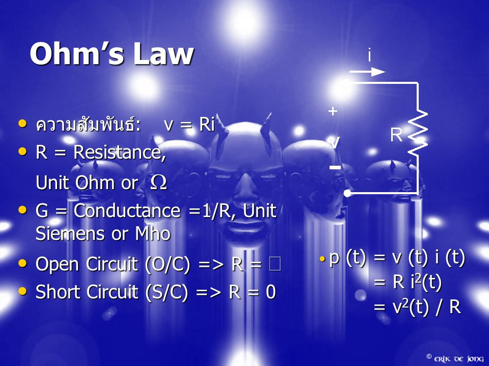 Ohm's Law ความสัมพันธ์ :v = Ri ความสัมพันธ์ :v = Ri R = Resistance, R = Resistance, Unit Ohm or  G = Conductance =1/R, Unit Siemens or Mho G = Conductance =1/R, Unit Siemens or Mho Open Circuit (O/C) => R =  Open Circuit (O/C) => R =  Short Circuit (S/C) => R = 0 Short Circuit (S/C) => R = 0 p (t) = v (t) i (t) p (t) = v (t) i (t) = R i 2 (t) = R i 2 (t) = v 2 (t) / R = v 2 (t) / R