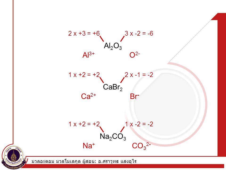 มวลอะตอม มวลโมเลกุล ผู้สอน : อ. ศราวุทธ แสงอุไร Formula of Ionic Compounds Al 2 O 3 2 x +3 = +63 x -2 = -6 Al 3+ O 2- CaBr 2 1 x +2 = +22 x -1 = -2 Ca