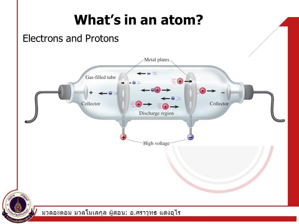 มวลอะตอม มวลโมเลกุล ผู้สอน : อ. ศราวุทธ แสงอุไร What's in an atom? Electrons and Protons