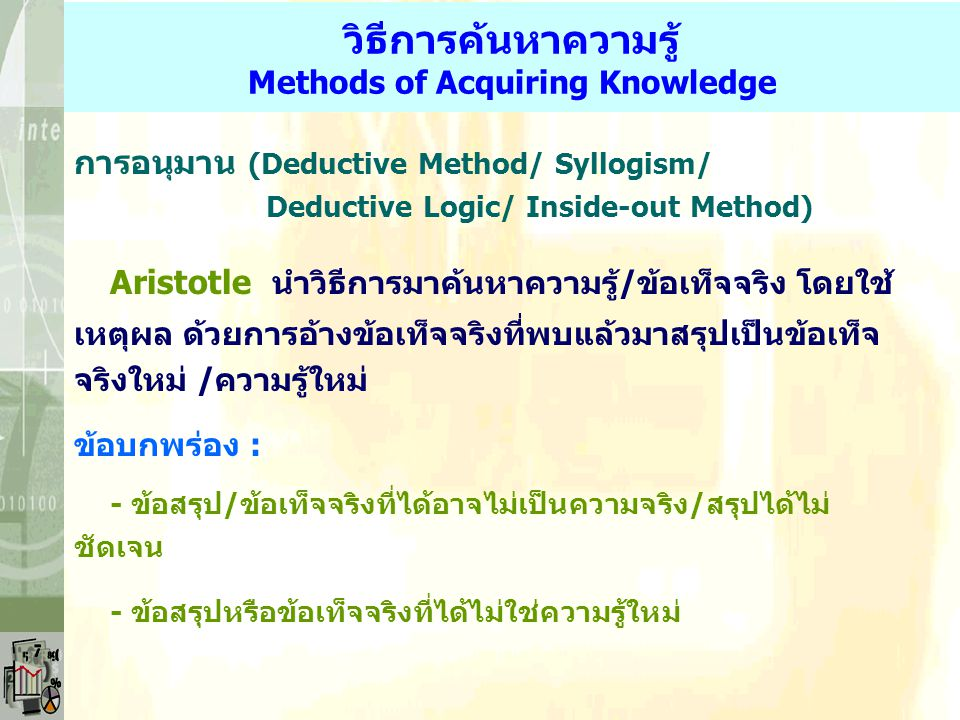 วิธีการค้นหาความรู้ Methods of Acquiring Knowledge การไต่ถามผู้รู้ (Authority) - ผู้เชี่ยวชาญ (Scholar) - ผู้ชำนาญการ (Expert) การใช้ประสบการณ์ (Exper
