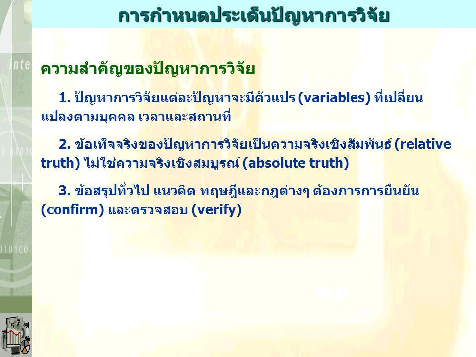 ขั้นตอนสำคัญของการวิจัย 1. การตั้งคำถามหรือปัญหาของการวิจัย 2. การทบทวนวรรณกรรม 3. การกำหนดแบบของการวิจัย 4. การเก็บรวบรวมข้อมูล 5. การจัดกระทำกับข้อม