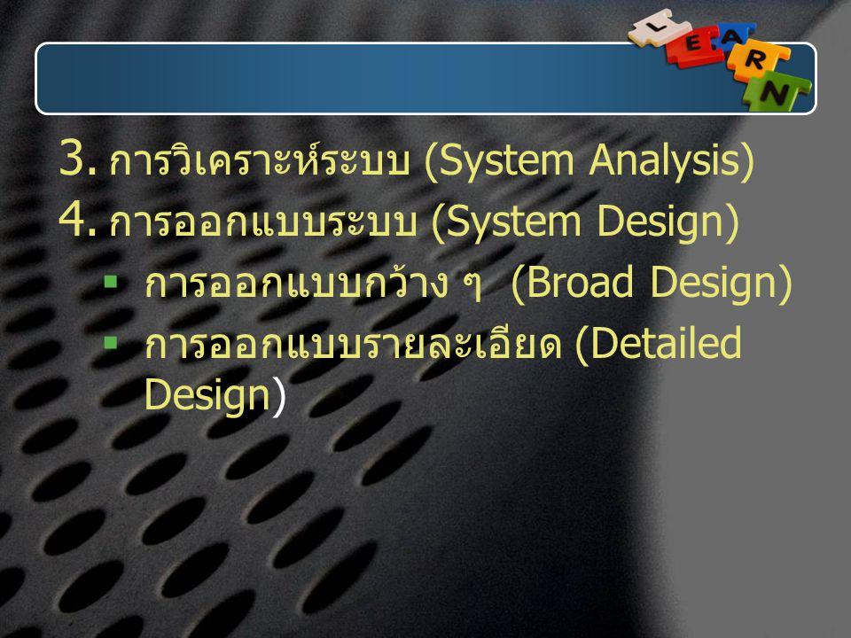  การวิเคราะห์ระบบ (System Analysis)  การออกแบบระบบ (System Design)  การออกแบบกว้าง ๆ (Broad Design)  การออกแบบรายละเอียด (Detailed Design)