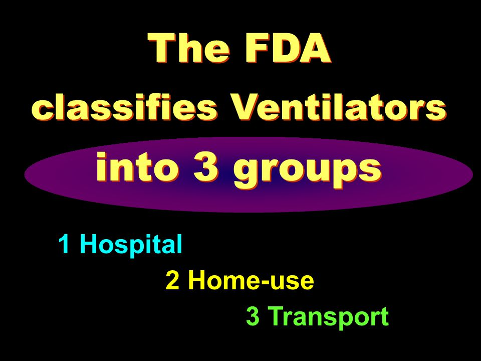 The FDA classifies Ventilators into 3 groups 3 Transport 2 Home-use 1 Hospital