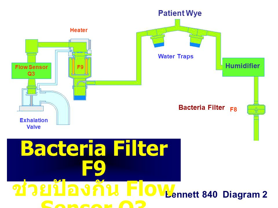 F8 F9 Exhalation Valve Water Traps Patient Wye Heater Flow Sensor Q3 Bennett 840 Diagram 2 Humidifier Bacteria Filter Bacteria Filter F9 ช่วยป้องกัน Flow Sensor Q3