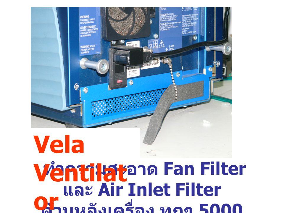 ทำความสะอาด Fan Filter และ Air Inlet Filter ด้านหลังเครื่อง ทุกๆ 5000 ชั่วโมง Vela Ventilat or