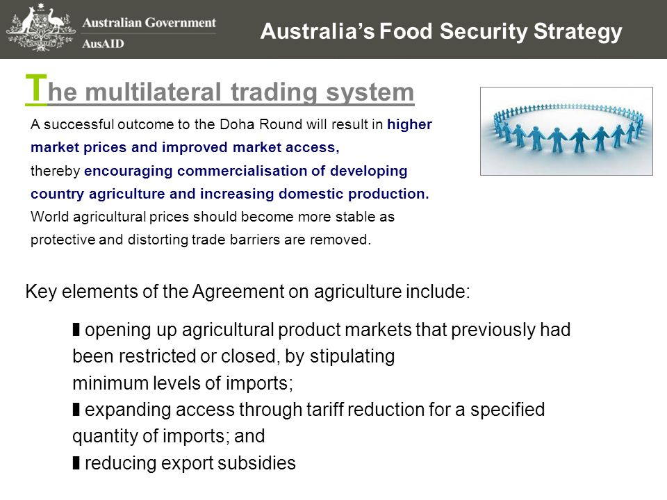 Australia's Food Security Strategy A successful outcome to the Doha Round will result in higher market prices and improved market access, thereby enco