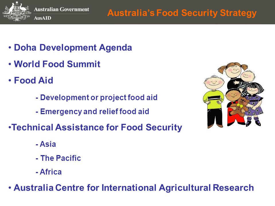 Australia's Food Security Strategy Doha Development Agenda World Food Summit Food Aid - Development or project food aid - Emergency and relief food aid Technical Assistance for Food Security - Asia - The Pacific - Africa Australia Centre for International Agricultural Research