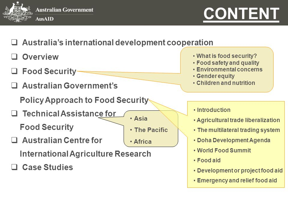  Australia's international development cooperation Australia's Food Security Strategy AusAID aims to advance Australia's national interest by assisting developing countries to reduce poverty and achieve sustainable development.