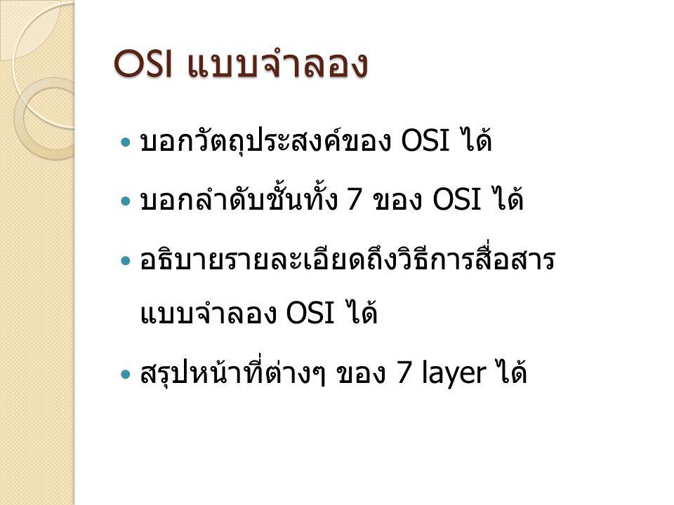 OSI แบบจำลอง บอกวัตถุประสงค์ของ OSI ได้ บอกลำดับชั้นทั้ง 7 ของ OSI ได้ อธิบายรายละเอียดถึงวิธีการสื่อสาร แบบจำลอง OSI ได้ สรุปหน้าที่ต่างๆ ของ 7 layer