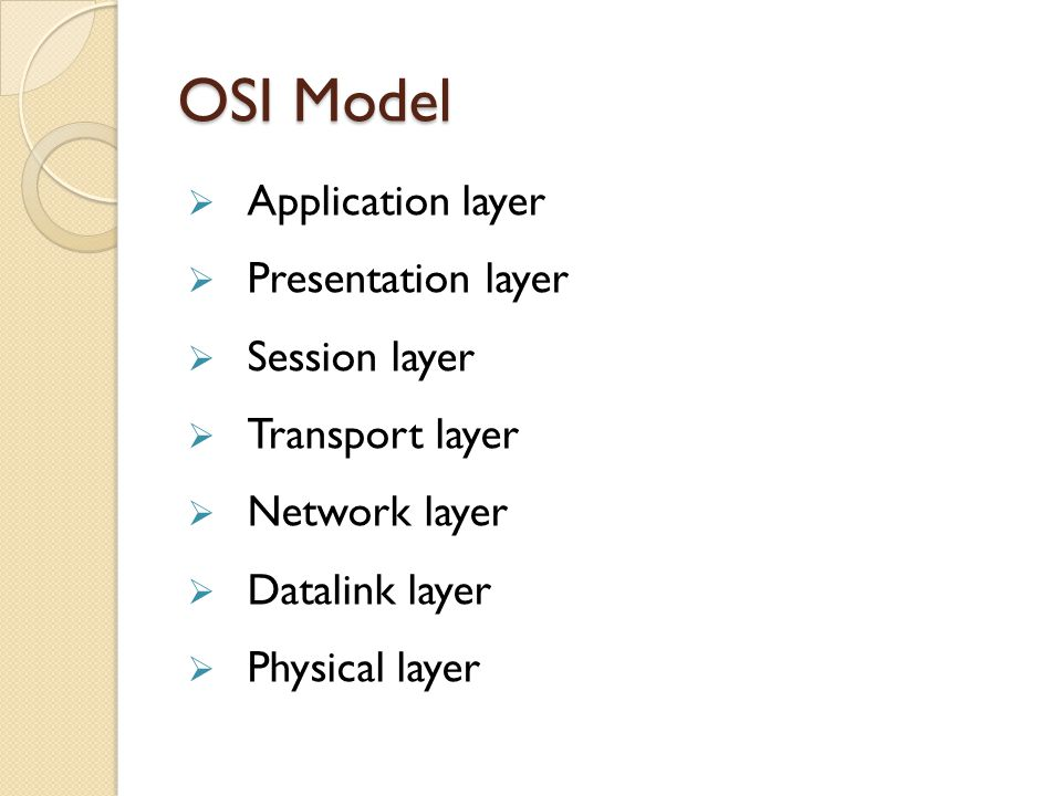 OSI Model  Application layer  Presentation layer  Session layer  Transport layer  Network layer  Datalink layer  Physical layer