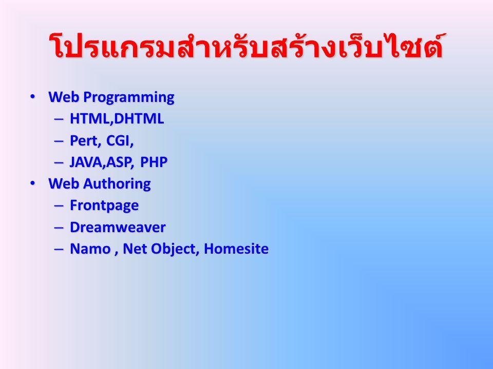 โปรแกรมสำหรับสร้างเว็บไซต์ Web Programming Web Programming – HTML,DHTML – Pert, CGI, – JAVA,ASP, PHP Web Authoring Web Authoring – Frontpage – Dreamwe