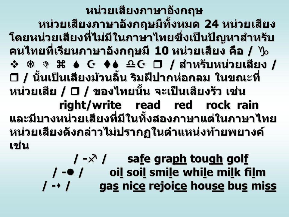 หน่วยเสียงภาษาอังกฤษ หน่วยเสียงภาษาอังกฤษมีทั้งหมด 24 หน่วยเสียง โดยหน่วยเสียงที่ไม่มีในภาษาไทยซึ่งเป็นปัญหาสำหรับ คนไทยที่เรียนภาษาอังกฤษมี 10 หน่วยเ