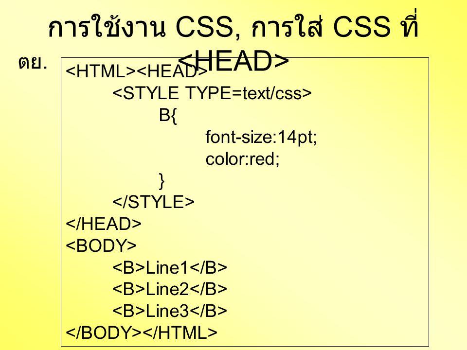 การใช้งาน CSS, การใส่ CSS ที่ B{ font-size:14pt; color:red; } Line1 Line2 Line3 ตย.