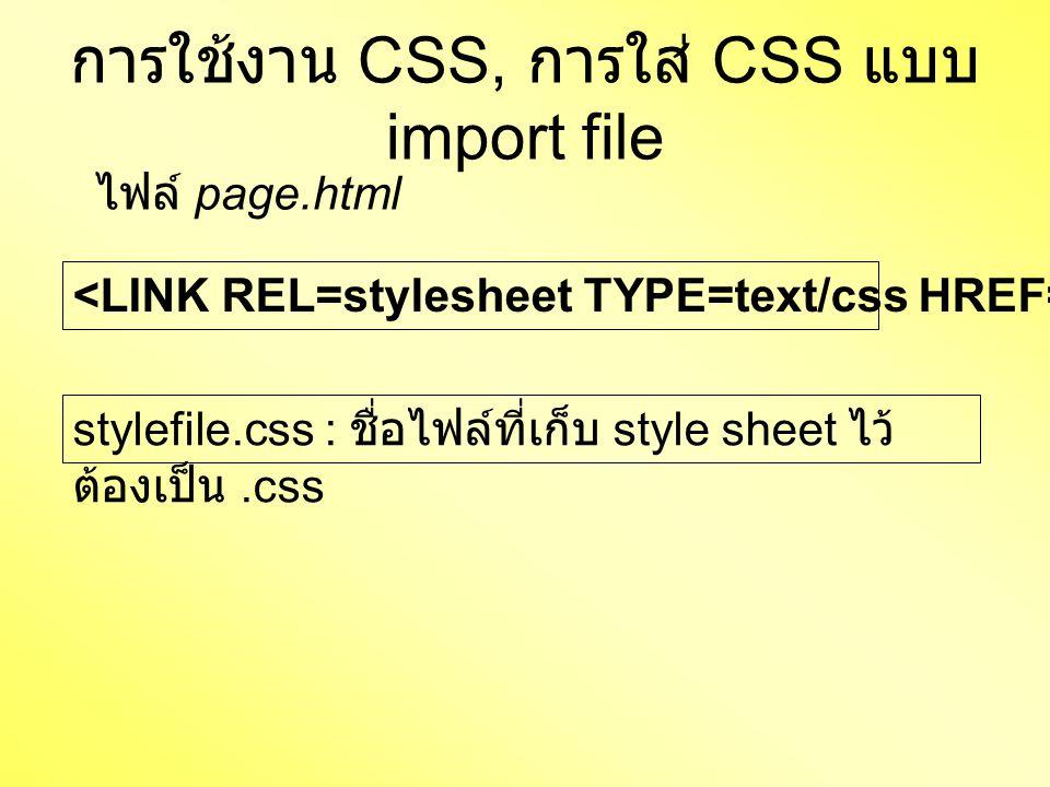 การใช้งาน CSS, การใส่ CSS แบบ import file stylefile.css : ชื่อไฟล์ที่เก็บ style sheet ไว้ ต้องเป็น.css ไฟล์ page.html