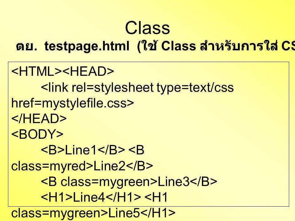 Class Line1 Line2 Line3 Line4 Line5 Line6 ตย. testpage.html ( ใช้ Class สำหรับการใส่ CSS แบบ import file)