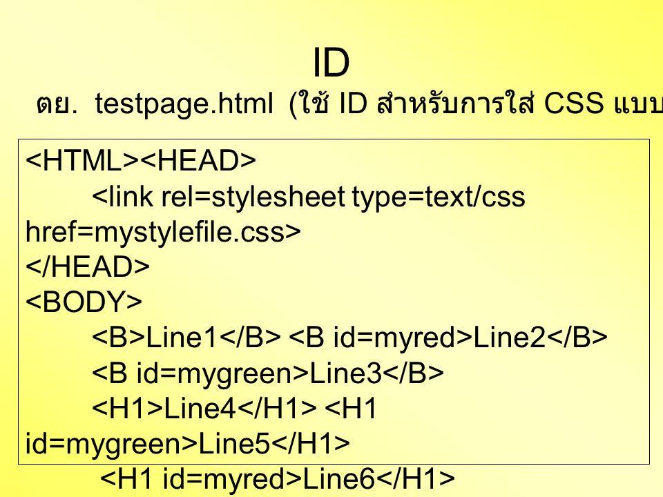 Line1 Line2 Line3 Line4 Line5 Line6 ID ตย. testpage.html ( ใช้ ID สำหรับการใส่ CSS แบบ import file)