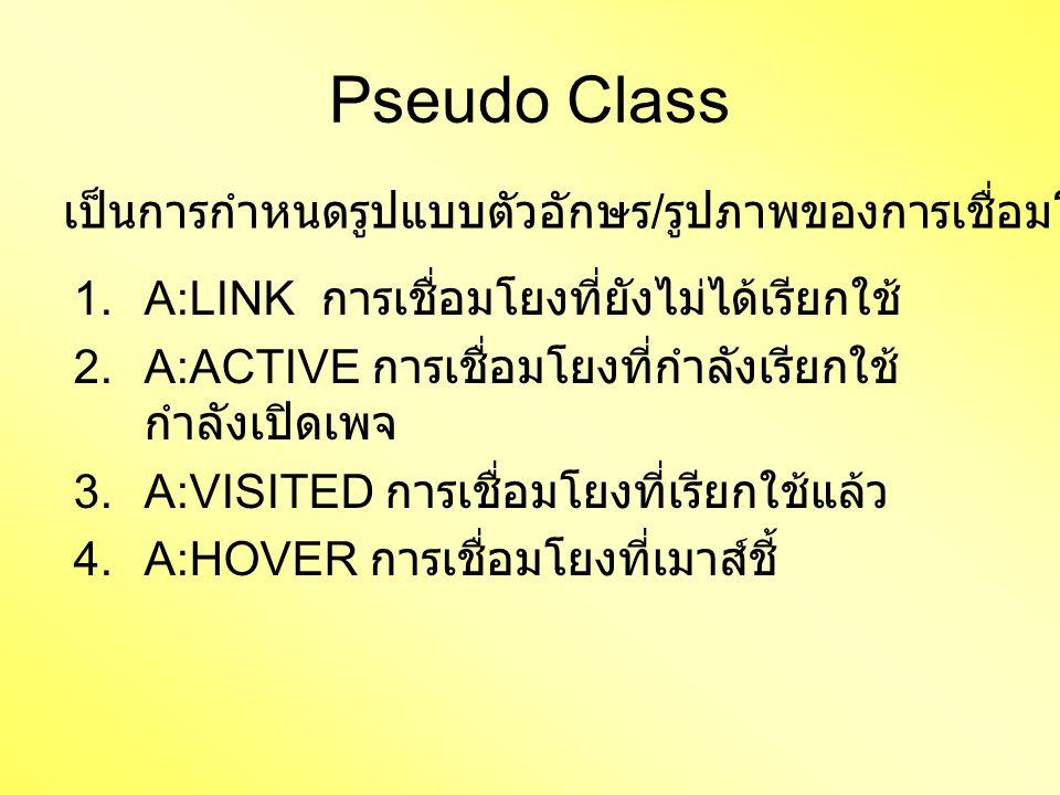 Pseudo Class 1.A:LINK การเชื่อมโยงที่ยังไม่ได้เรียกใช้ 2.A:ACTIVE การเชื่อมโยงที่กำลังเรียกใช้ กำลังเปิดเพจ 3.A:VISITED การเชื่อมโยงที่เรียกใช้แล้ว 4.A:HOVER การเชื่อมโยงที่เมาส์ชี้ เป็นการกำหนดรูปแบบตัวอักษร / รูปภาพของการเชื่อมโยง มี 4 ตัว