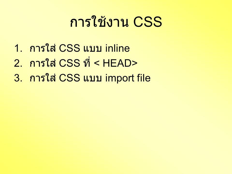 การใช้งาน CSS 1. การใส่ CSS แบบ inline 2. การใส่ CSS ที่ 3. การใส่ CSS แบบ import file