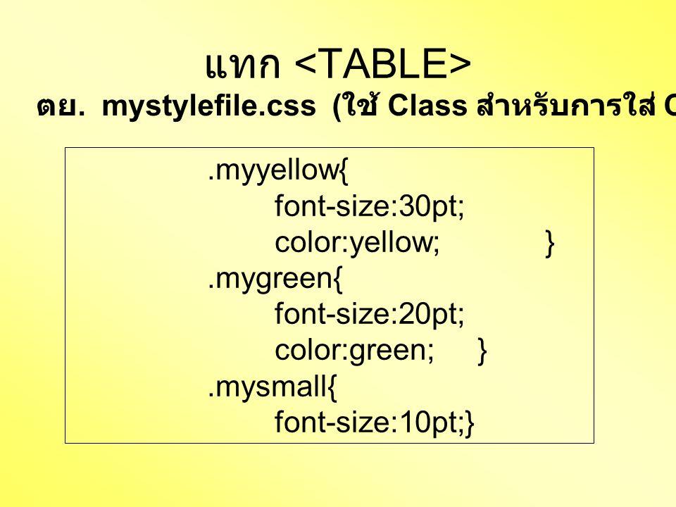 แทก.myyellow{ font-size:30pt; color:yellow;}.mygreen{ font-size:20pt; color:green;}.mysmall{ font-size:10pt;} ตย. mystylefile.css ( ใช้ Class สำหรับกา