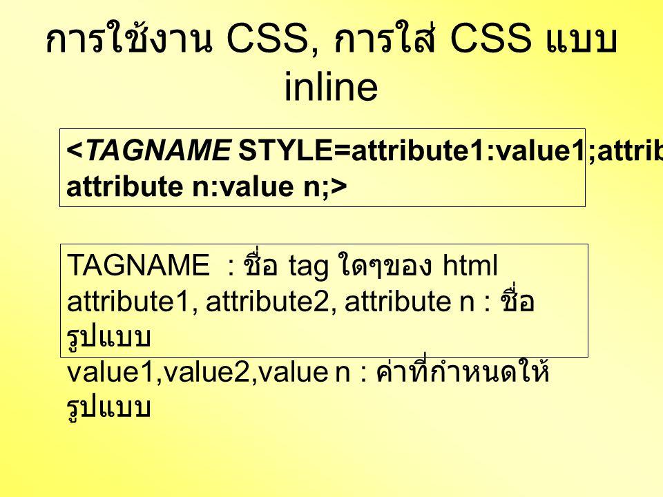 การใช้งาน CSS, การใส่ CSS แบบ inline <TAGNAME STYLE=attribute1:value1;attribute2:value2;…, attribute n:value n;> TAGNAME : ชื่อ tag ใดๆของ html attribute1, attribute2, attribute n : ชื่อ รูปแบบ value1,value2,value n : ค่าที่กำหนดให้ รูปแบบ