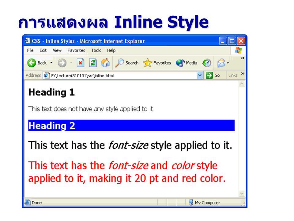 การแสดงผล Inline Style