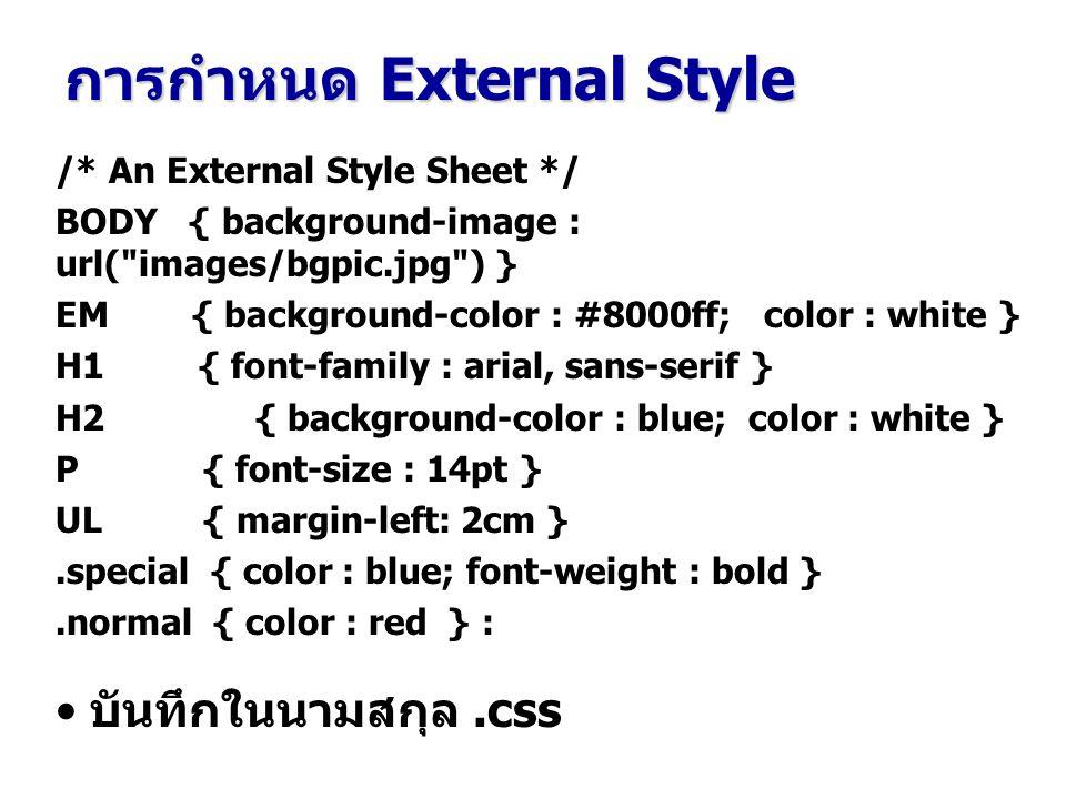 /* An External Style Sheet */ BODY { background-image : url(