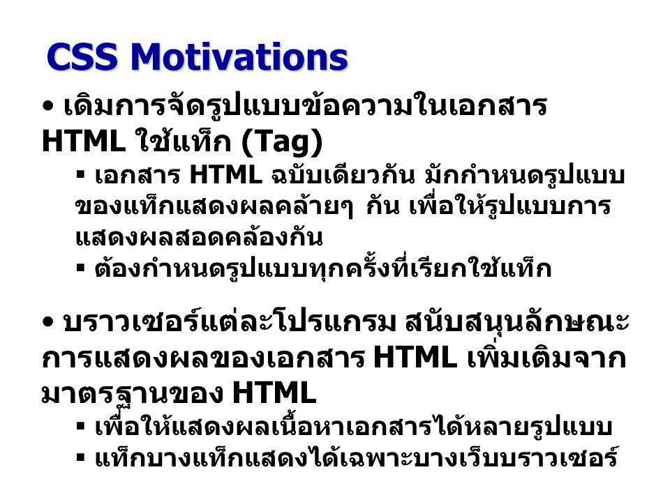 CSS - External Styles <LINK rel = stylesheet type = text/css href = styles.css > : การกำหนด External Style