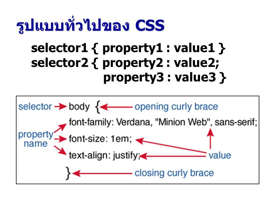 Selector อาจเป็น แท็ก HTML ชื่อคลาส Property ชื่อ Property อาจเป็น แอ็ททริบิวต์ของ แท็ก value ค่า (Value) ของแต่ละ Property selector { property : value }