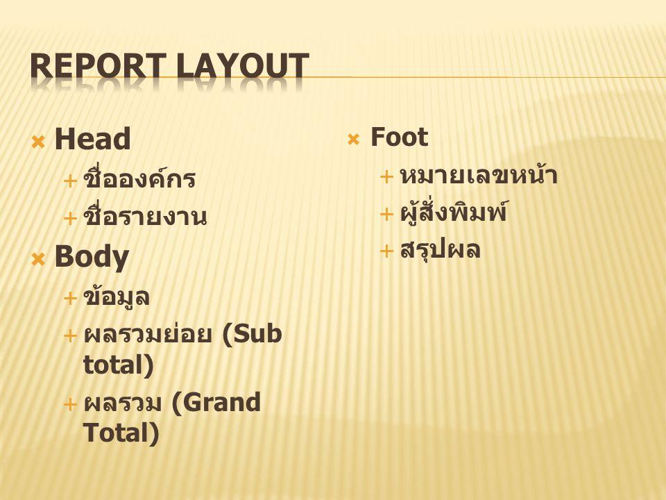  Head  ชื่อองค์กร  ชื่อรายงาน  Body  ข้อมูล  ผลรวมย่อย (Sub total)  ผลรวม (Grand Total)  Foot  หมายเลขหน้า  ผู้สั่งพิมพ์  สรุปผล