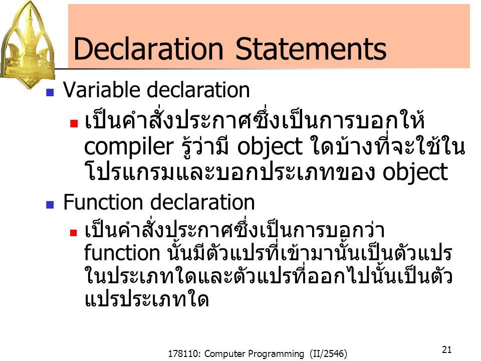 178110: Computer Programming (II/2546) 21 Declaration Statements Variable declaration เป็นคำสั่งประกาศซึ่งเป็นการบอกให้ compiler รู้ว่ามี object ใดบ้างที่จะใช้ใน โปรแกรมและบอกประเภทของ object Function declaration เป็นคำสั่งประกาศซึ่งเป็นการบอกว่า function นั้นมีตัวแปรที่เข้ามานั้นเป็นตัวแปร ในประเภทใดและตัวแปรที่ออกไปนั้นเป็นตัว แปรประเภทใด