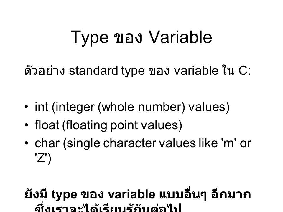 เป็นการประกาศ (declaration) ว่า ต้องการที่ สร้างพื้นที่ (space) ขึ้นบริเวณหนึ่ง ซึ่งจะ เรียกชื่อว่า b ไว้สำหรับเก็บค่าแบบจำนวน เต็ม (integer) ค่าหนึ่ง (int : หมายถึง integer).