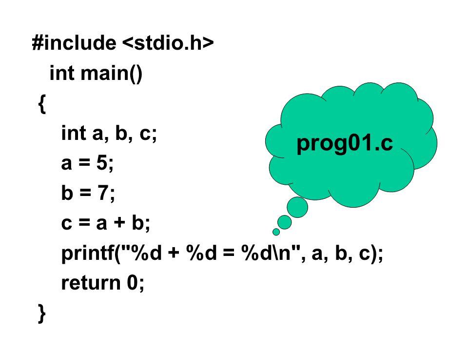 กำหนดโปรแกรมให้ 2 โปรแกรม สร้าง directory สำหรับ lab ชื่อ Lab02 ภายใต้ Lab02 สร้าง directory ชื่อ prog01 สำหรับใช้กับโปรแกรมแรก (prog01.c) โดย ให้สร้า