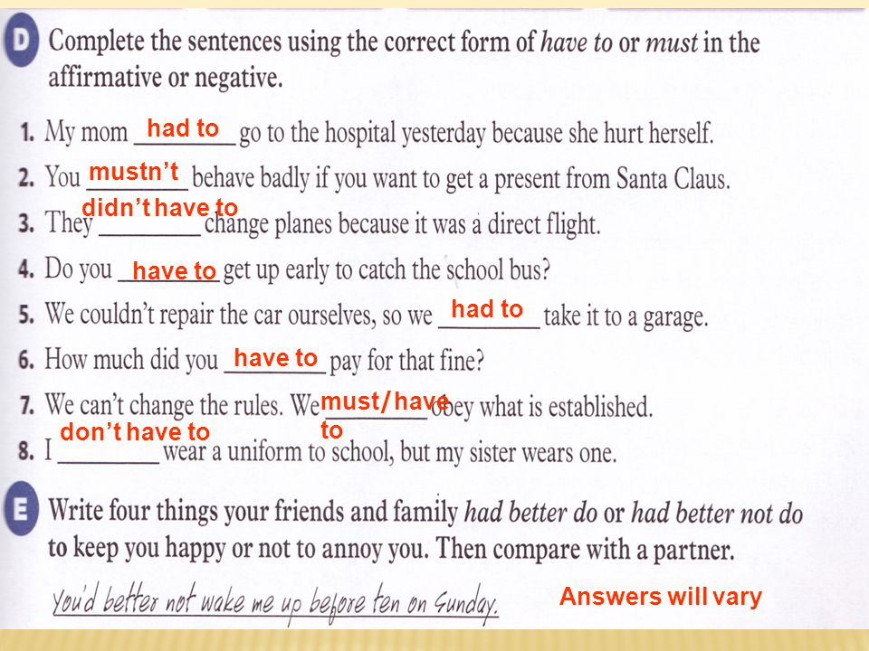 Language in Context: D have to and must (page 53)