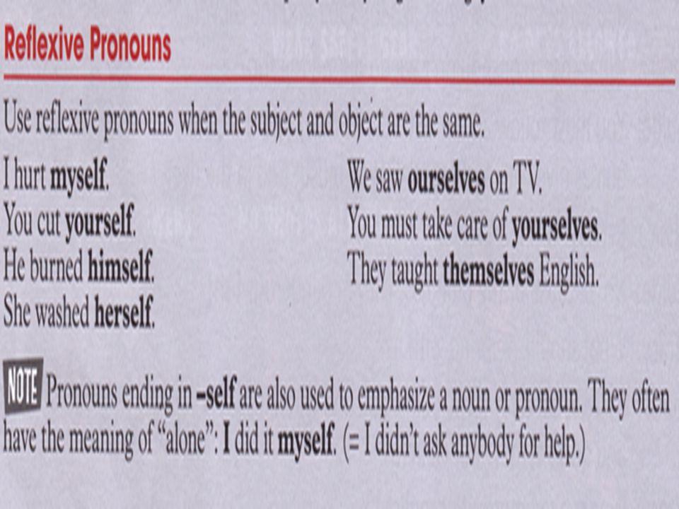Grammar: Reflexive pronouns (page 52)