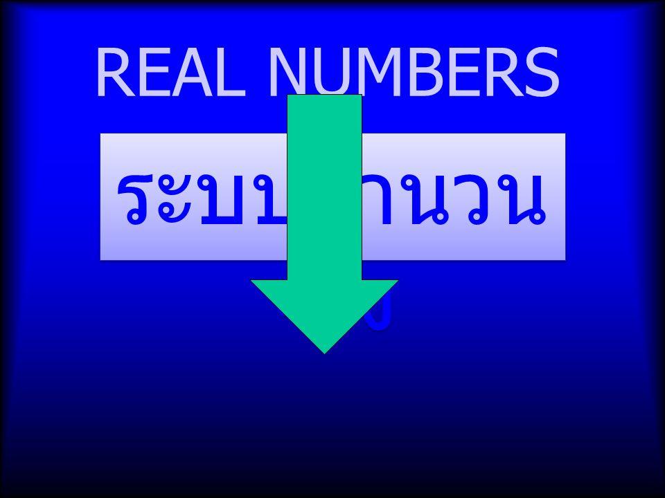 REAL NUMBERS ระบบจำนวน จริง