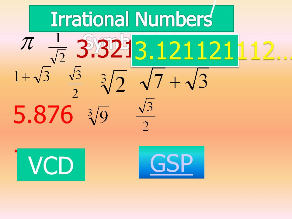 / 3.321… 3.121121112… 5.876 … GSP VCD