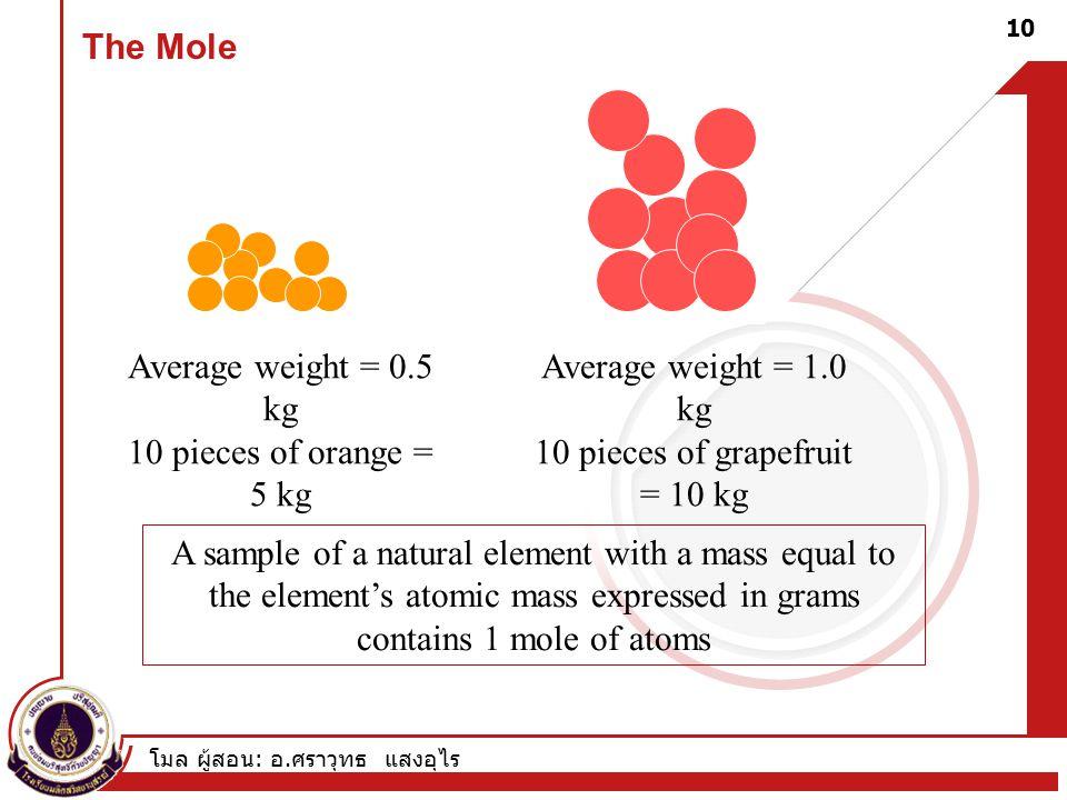 โมล ผู้สอน : อ. ศราวุทธ แสงอุไร 10 The Mole Average weight = 0.5 kg 10 pieces of orange = 5 kg Average weight = 1.0 kg 10 pieces of grapefruit = 10 kg