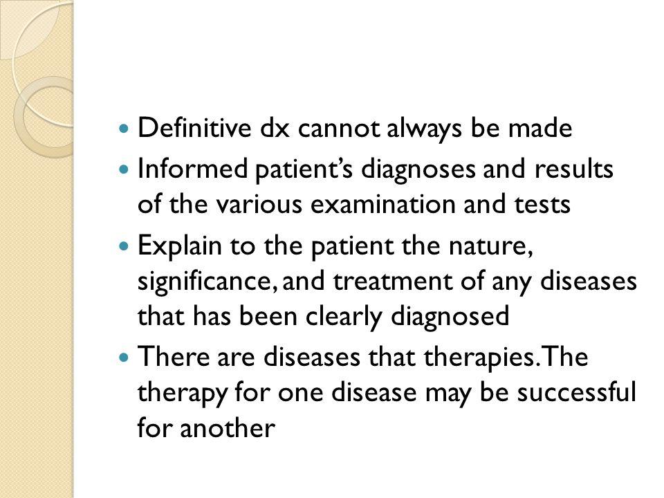 Establishing the diagnosis 1.