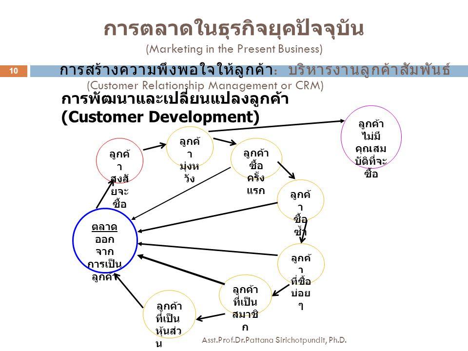 การสร้างความพึงพอใจให้ลูกค้า : บริหารงานลูกค้าสัมพันธ์ (Customer Relationship Management or CRM) การพัฒนาและเปลี่ยนแปลงลูกค้า (Customer Development) ล