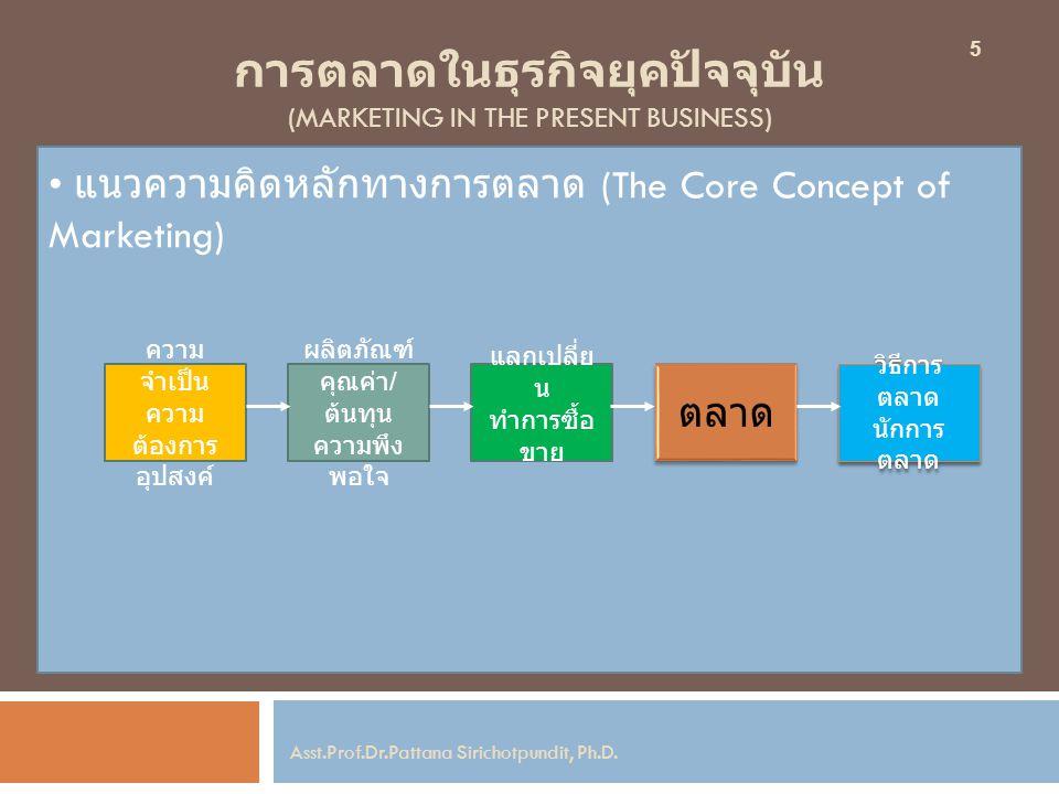 การตลาดในธุรกิจยุคปัจจุบัน (MARKETING IN THE PRESENT BUSINESS) แนวความคิดหลักทางการตลาด (The Core Concept of Marketing) 5 Asst.Prof.Dr.Pattana Siricho